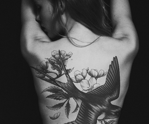 black and white, sparrow, and tattoo image