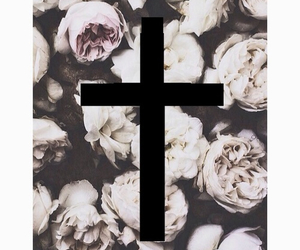 flowers, cross, and wallpaper image