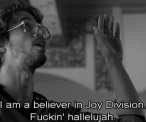 black and white, joy division, and subtitles image