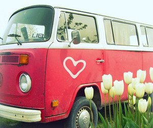 heart, car, and flowers image