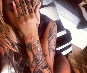 tattoo, girl, and nails image