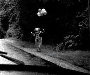 clown, black and white, and it image