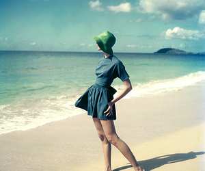 beach, blue, and vintage image
