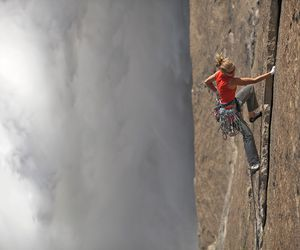 rock climbing and yosemite image