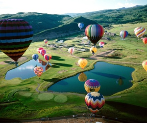 balloons, sky, and nature image