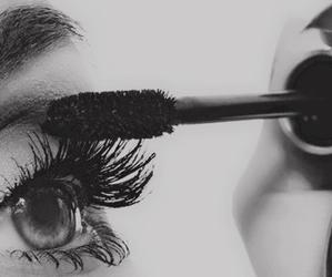 black&white, make up, and eye image
