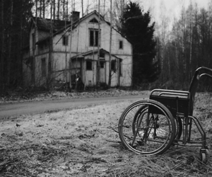 black and white, terror, and abandoned image