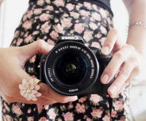 camera, fashion, and floral image