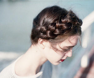 blue, braid, and girl image