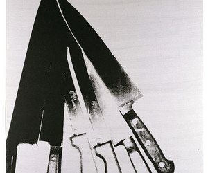 b&w, black and white, and knifes image