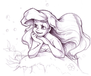 drawing, disney, and ariel image