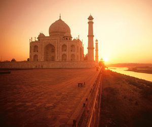 india, sunset, and taj mahal image