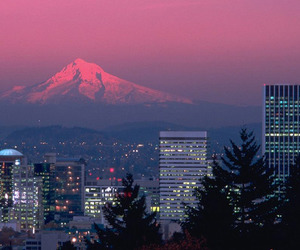 city, mountains, and pink image