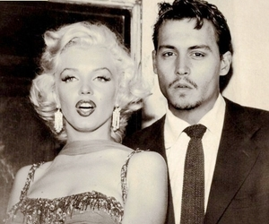 Marilyn Monroe, johnny depp, and black and white image