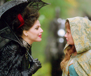 belle, evil queen, and once upon a time image
