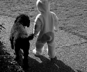 black and white, child, and dog image