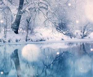 snow, winter, and lake image