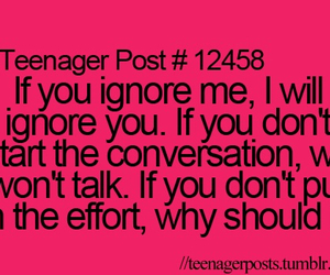 teenager post, conversation, and ignore image