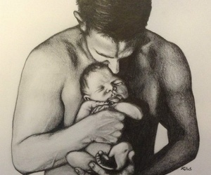 baby, black and white, and charcoal image