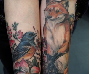 tattoo, fox, and bird image