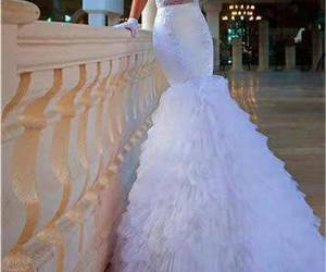 white, wedding, and dress image