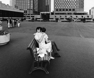 bench, city, and couple image