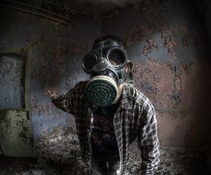 gas mask, mask, and boy image