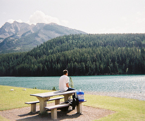 boy, lake, and man image