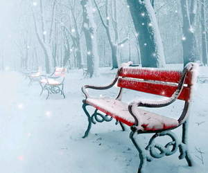 snow, winter, and bench image
