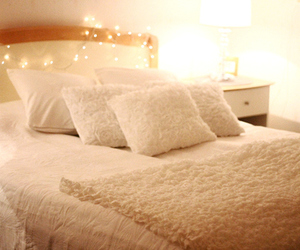 light, bed, and white image
