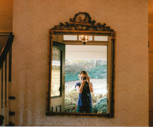 girl, camera, and mirror image