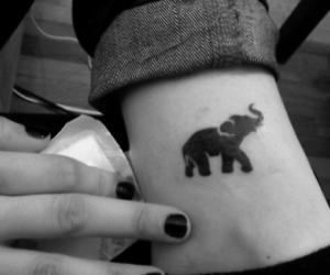 black, elephant, and tattoo image