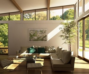 living room, wooden table, and brown sofas image