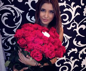 beauty, brunette, and roses image