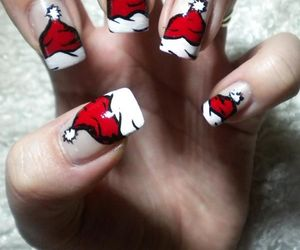 hat, nails, and red image