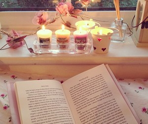 book, candle, and reading image