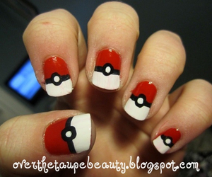 nail art, pokemon, and pokeballs image