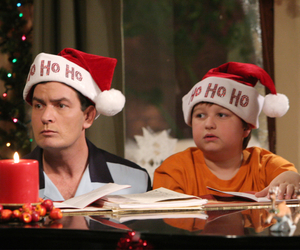 two and a half men, charlie sheen, and christmas image