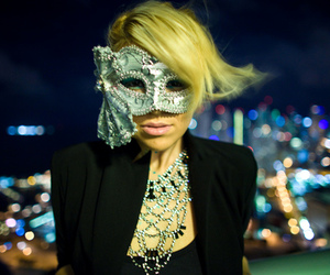 blonde, city lights, and mask image