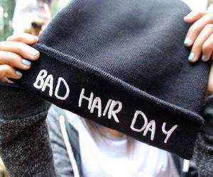 hair, bad hair day, and beanie image