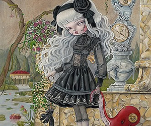art, doll, and dress image
