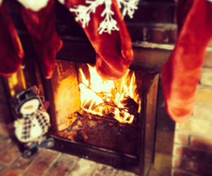 christmas, cozy, and fire image