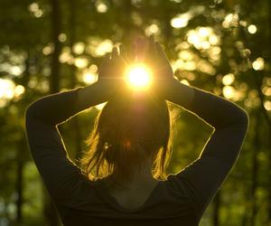 girl, sun, and light image