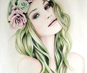 colored pencil, girl, and drawings image