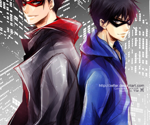 dick grayson, red hood, and nightwing image