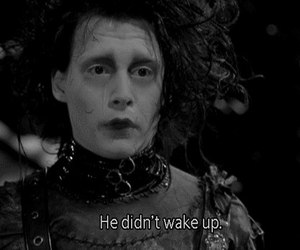 edward scissorhands, johnny depp, and black and white image