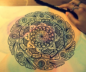 drawing, mandala, and art image