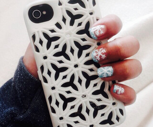 iphone, nails, and snowflake image