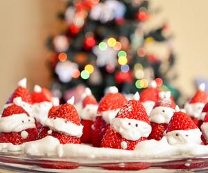 christmas, strawberry, and santa image
