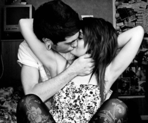 kiss, boyfriends, and black and white image